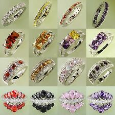 Captivating Lady's Multi-Color Gemstones Silver Ring Size 6 7 8 9 10 Free Ship