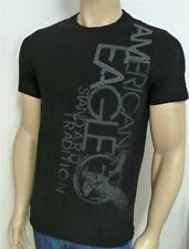 American Eagle Outfitters Tradition AEO Tee Mens Black Applique T-Shirt New NWT