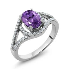 1.81 Ct Oval Natural Purple Amethyst 925 Sterling Silver Ring