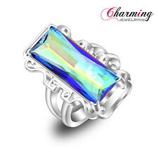 50% OFF Gorgeous Unique HUGE Rainbow Fire Mystical Topaz Gemstone Silver Ring