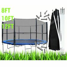 8 10 12 FT Replacement Trampoline Safety Net Surround Set with Poles and Clips