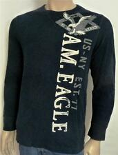 American Eagle Outfitters AEO Mens Dark Navy Graphic Long Sleeve Thermal New NWT