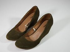 Merona Stylish High Wedge Heels Brown Green Suede Padded Footbed Womens Shoes