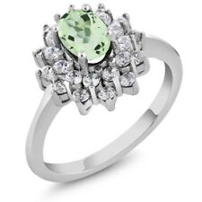 1.60 Ct Oval Natural Green Amethyst 925 Sterling Silver Ring