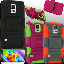 Case for Samsung Galaxy S 5 Holster BBZK Cover Belt Clip PC Silicone Screen