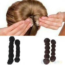 2pcs Magic Hair Styling Updo Bun Maker Hairstyle DIY Elastic Donut Shaper B82U