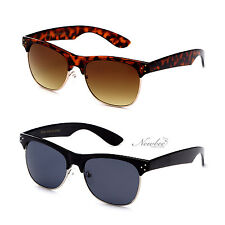 Half Frame Classic Style Sunglasses Thick Bold Frame Vintage Retro Many Color
