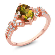 2.66 Ct Mango Mystic Topaz White Created Sapphire Rose Gold Plated Silver Ring