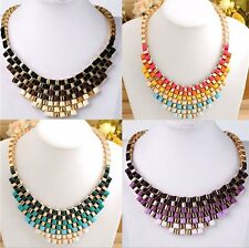 1 Strand Boho Style Women's Metallic Woven Choker Bib Statement Necklace Gift