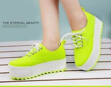 2014 new Womens School canvas high platform sneaker lace up tennis shoes 3color