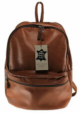 borsa backpack bag zaino in pelle made in italy nuovo uomo e donna marrone 6161