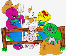 "6-9"" BARNEY ON FARM BABY BOP BJ WALL STICKER GLOSSY BORDER CHARACTER CUT OUT"