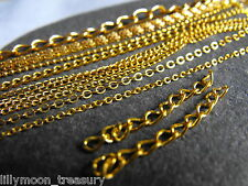 """Gold plated necklace chain 1.5mm 2mm snake chain 16"""" 22"""" ball chain curb chain"""