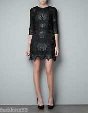 Zara LACE AND LEATHER DRESS Size S