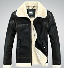New Men winter Faux leather coat real fur parka Fleece Jacket trench jacket coat