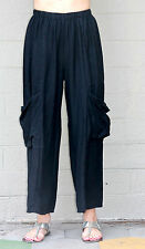 ET'LOIS USA  Linen BEBE  PANT Wide-Leg  w/ Deep Pocket Details  S M L XL  BLACK