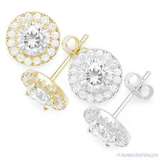 Round Cut Cubic Zirconia CZ Crystal Halo Studs 925 Sterling Silver Stud Earrings