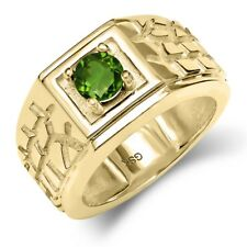 0.50 Ct Round Green SI1/SI2 Chrome Diopside 14K Yellow Gold Men's Ring