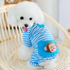 Pet Puppy Dog Stripes Bear Jumpsuit Pajamas Cat Dog Coat Clothes Apparel Costume