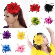 Women's Belly Dance Party Wedding Feather Hair Head Flower Hairpin Brooch Clip