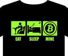 Mens T-Shirt eat sleep mine bitcoin P2P Satoshi virtual currency server pool