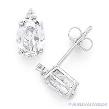 Oval & Round Brilliant Cut Cubic Zirconia CZ .925 Sterling Silver Stud Earrings