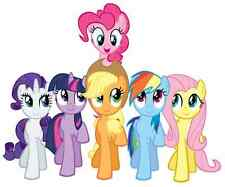 """6-10"""" MY LITTLE PONY GROUP  WALL STICKER GLOSSY BORDER CHARACTER CUT OUT"""