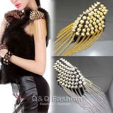 Woman Spike Stud Rivet Black Shoulder Flash Epaulet Brooch Chain Punk Costume