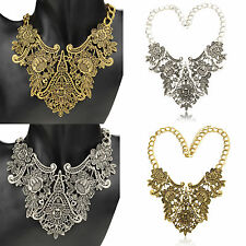 Floral Metallic Hollow Bridal Chunky Collar Bib Statement Pendant Necklace Z302