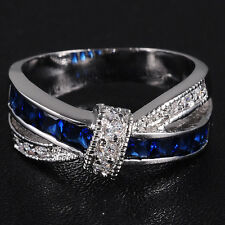 Lady's Jewelry Sapphire 10KT White Gold Filled Cross Ring Free Shipping
