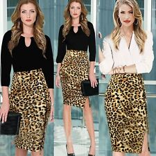 Sexy Cute Leopard Animal Print High Waisted Knee Length Zip Bodycon Pencil Skirt