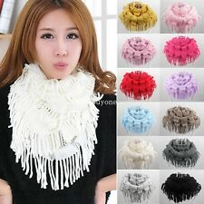 Fashion Women Winter Warm Knit Fringe Tassel Neck Wrap Circle Snood Scarf Shawl