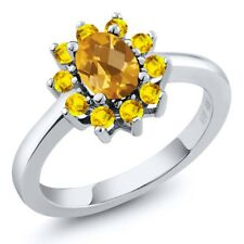 1.20 Ct Oval Checkerboard Yellow Citrine Yellow Sapphire 14K White Gold Ring