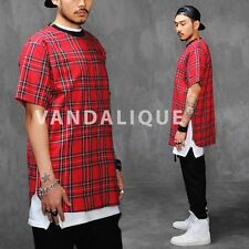 XQUARE23 Tartan Plaid Extended 4 Ziped Shirt Red Kanye A$AP FABRIXQUARE t600 #3