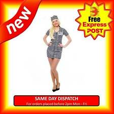 LADIES SEXY CONVICT COSTUME JAILBIRD PRISONER FANCY DRESS INMATE OUTFIT WITH HAT