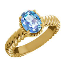 2.30 Ct Oval Millennium Blue Mystic Quartz 925 Yellow Gold Plated Silver Ring
