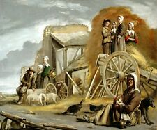 HAYCART FARM HAYMAKING WOMEN CHILDREN ANIMALS PAINTING BY LE NAIN BROTHERS REPRO