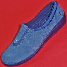 NEW Womens GRASSHOPPERS EH46295 Blue Stretch Nubuck Casual/Comfort Loafers Shoe