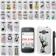 For ZTE Concord 2 Z730 Art Design PATTERN HARD Protector Case Cover Phone + Pen