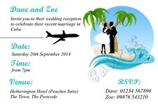 Personalised Beach Wedding Reception Party Invitations Married Abroad