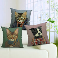 Uniform Cats and Dogs Print Linen Cushion Covers Pillow Cases Waist Sofa Decor