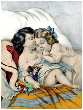 5593.Two girls sleeping in bed together holding doll.POSTER. Home Office decor