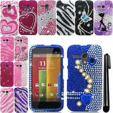 For Motorola Moto G Falcon XT1032 DIAMOND BLING HARD Case Cover Phone + Pen