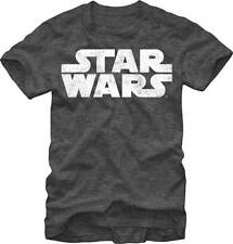 Star Wars Movie Simplest Logo Distressed Men's T-Shirt - Charcoal