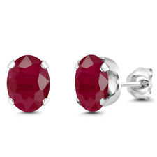 3.20 Ct Oval 8x6mm Red Ruby 925 Sterling Silver Stud Earrings