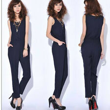 Women's Sleeveless Pocket Bodycon Slim Chiffon Jumpsuits Casual Rompers Pants