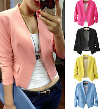 Womens Candy Color 3/4 Sleeves Solid Slim Fit Suit Coat Casual Blazer Jacket Top