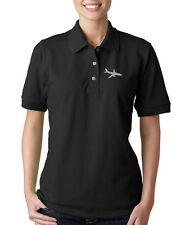 AIR PLANE Embroidery Embroidered Lady Woman Polo Shirt