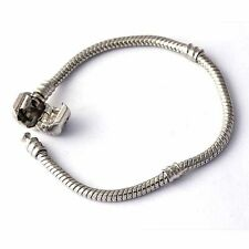 White Gold Filled/Silver Bracelet Fit Bead/Charm 15 16 17 18 19  21 22 23 cm