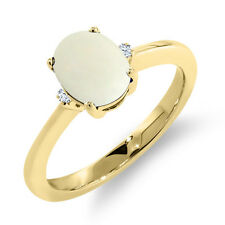 1.08 Ct Oval Cabouchon White Opal 14K Yellow Gold Ring